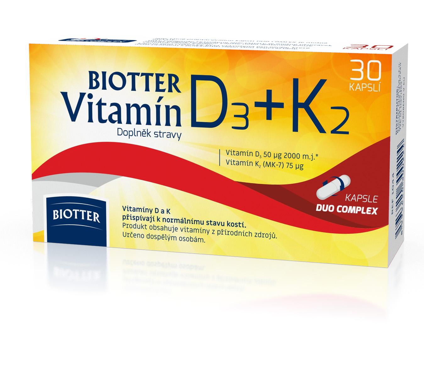 Biotter Vitamín D3+K2 doplněk stravy 30cps.